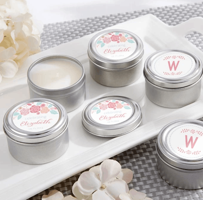 silver candle tins with personalized labels