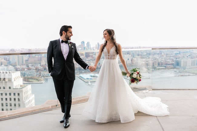 Classy Winter Wedding With NYC Skyline Views Feature