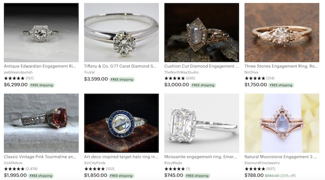 screenshot of engagement rings for sale on Etsy
