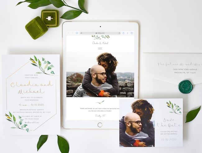 print wedding invitation, STD and mobile wedding website