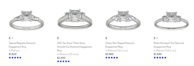 four three-stone diamond engagement ring styles