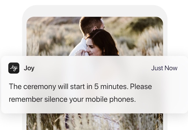 Example of withjoy.com mobile app notification for wedding guests
