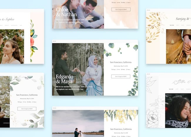 selection of wedding website templated offered by withjoy.com