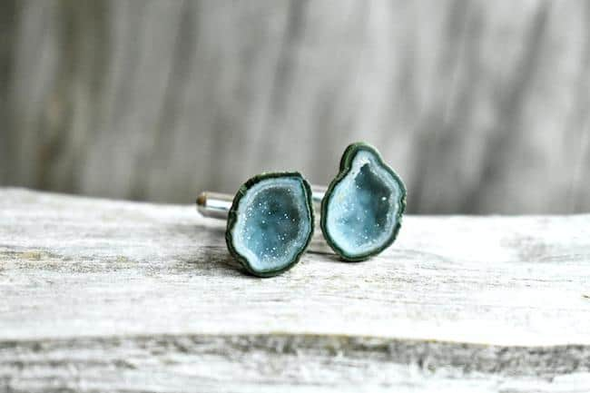 Blue geode sterling cufflinks