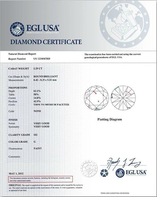 diamond certificate sample by EGL USA