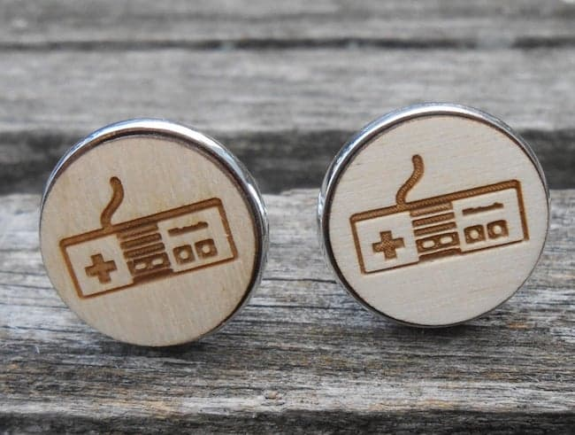round wooden cufflinks with retro game controllers laser engraved
