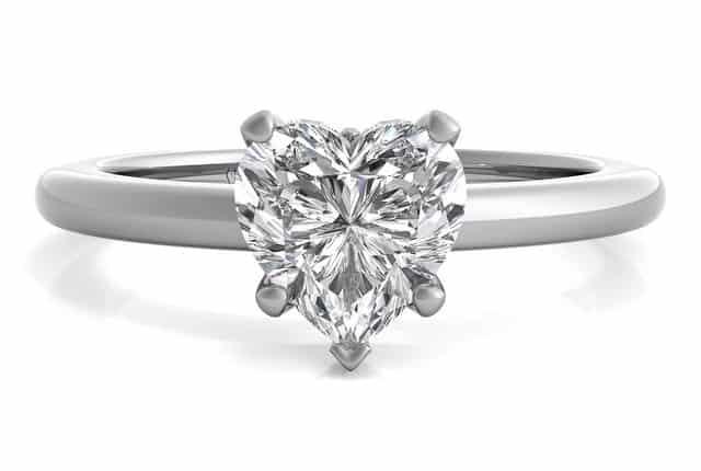 hear cut solitaire diamond ring