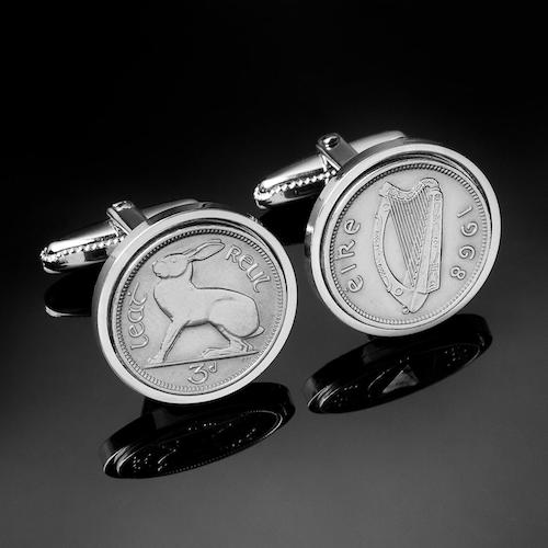 silver Irish threepence coin cufflinks with rabbit and harp symbols