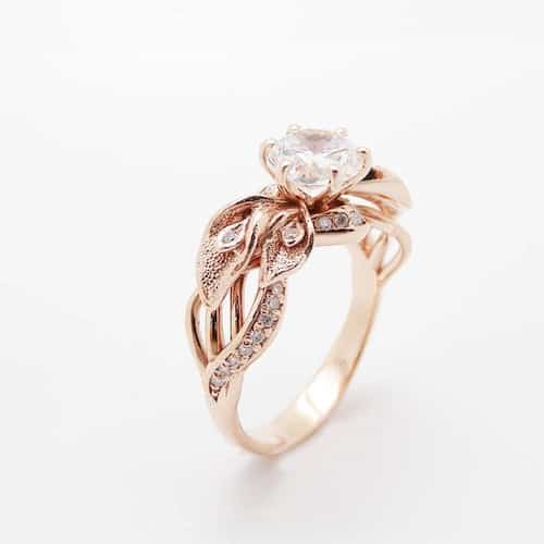 Moissanite Engagement Ring in Rose Gold
