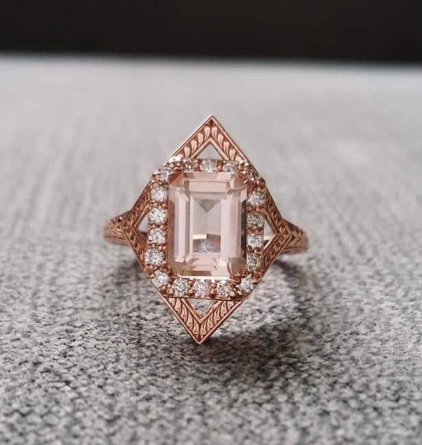 Morganite Vintage Estate Diamond