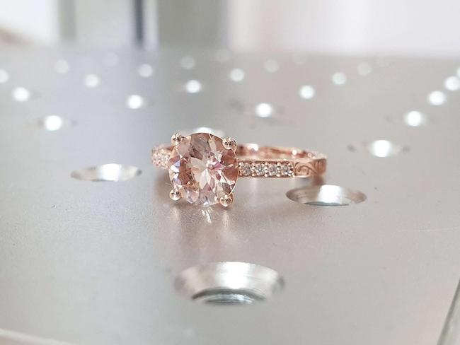 Estate Diamond and Morganite Gold Ring
