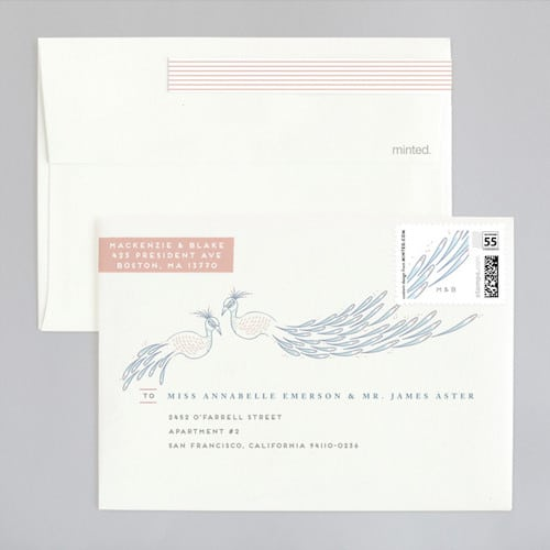 Illustrative Peacock wedding envelope