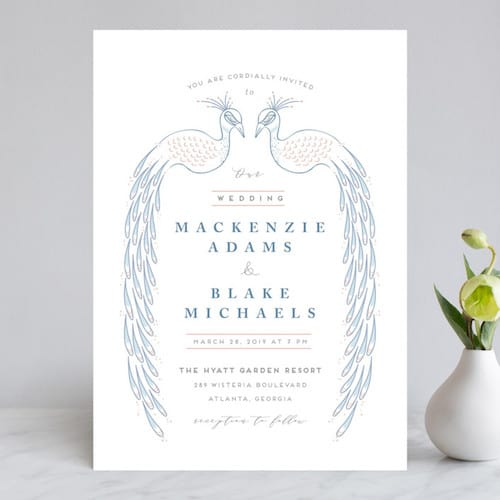 Illustrative Double Peacock Invitation design