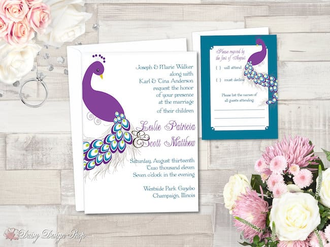 Purple and Teal Peacock Invite