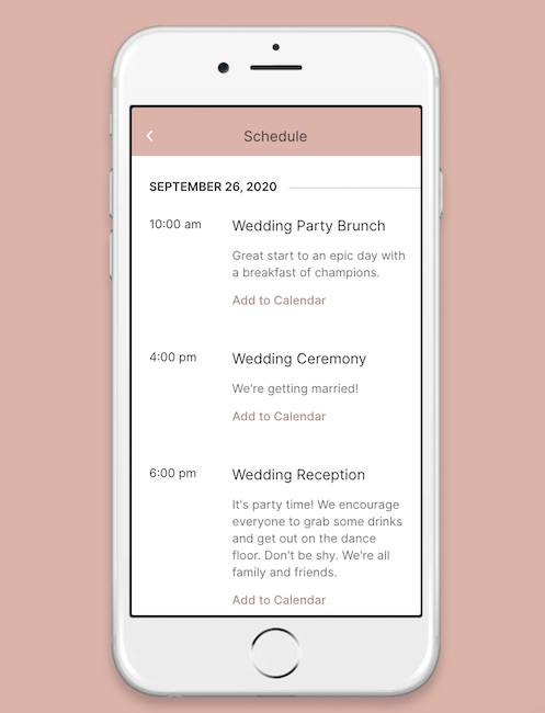 Mobile preview of a wedding schedule from withjoy.com