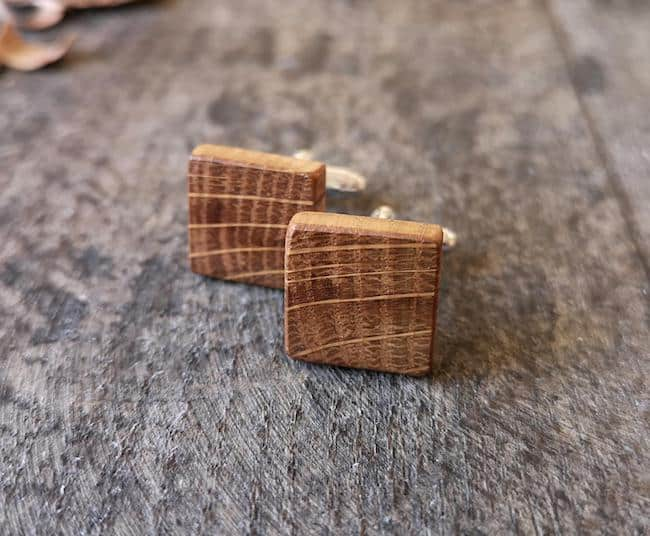 square brown wooden cufflinks made from whiskey barrel