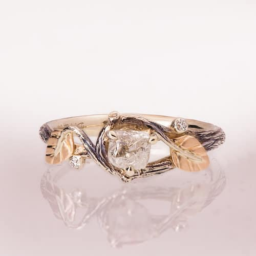 twig and leaf rose gold engagement ring with diamond