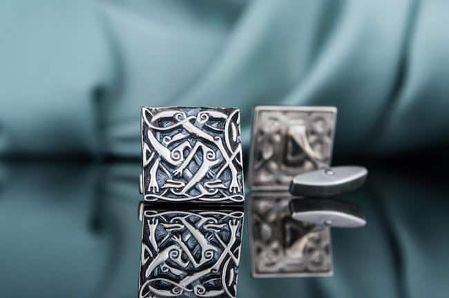 silver square cufflinks with intricate viking desing