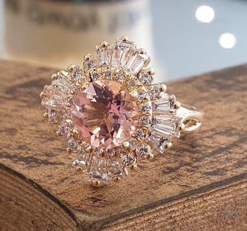 vintage pink morganite engagement ring