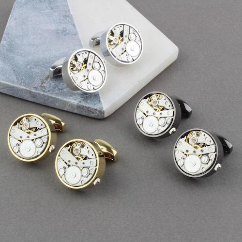 Winding watch cufflinks in silver, gold and gun metal