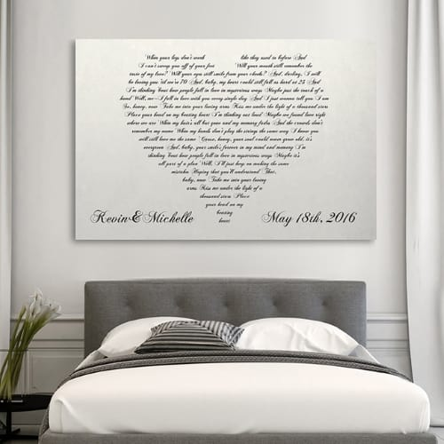 Personalized heart shaped canvas art