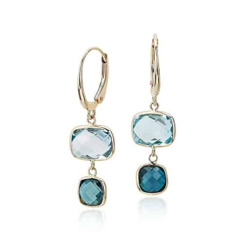 Blue Topaz Tonal Drop Leverback Earrings