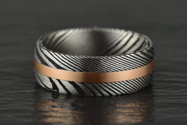 Damascus Steel Mens Wedding Band