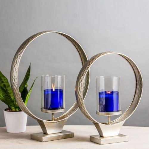 Ring Pillar Candleholder set of two