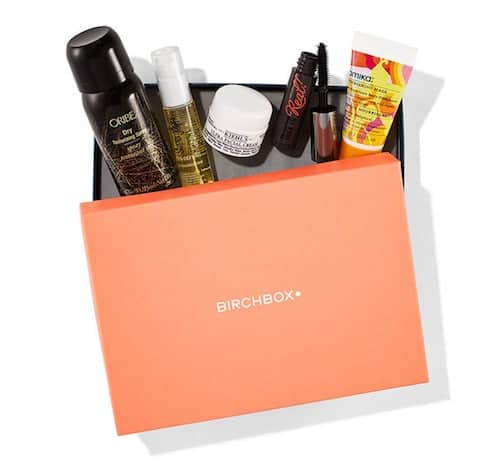 Box with skincare and beauty products from Birchbox