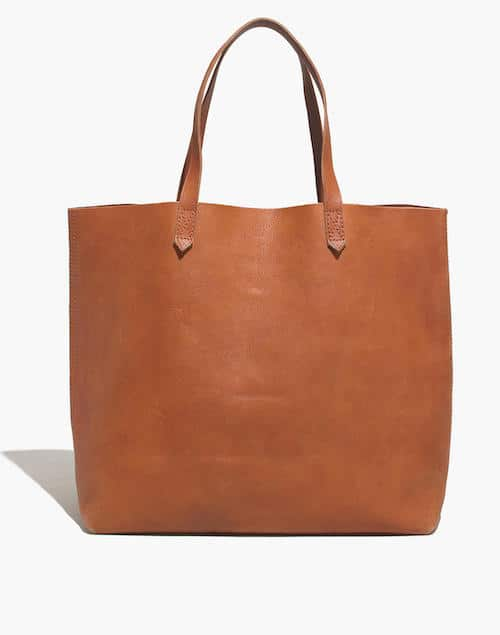 saddle brown leather tote with should straps