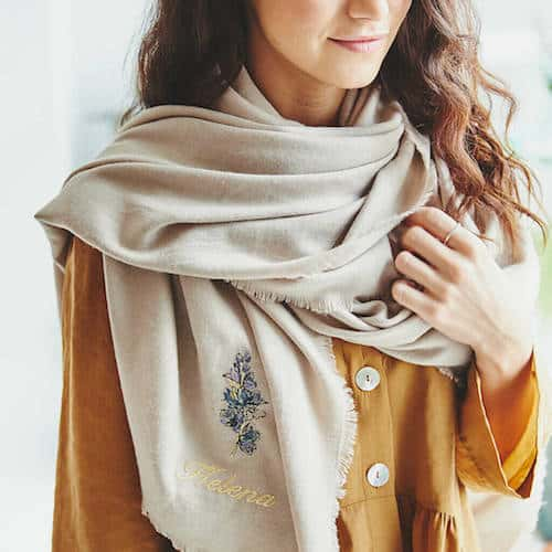 beige pashmina scarf with embroidered birth flower