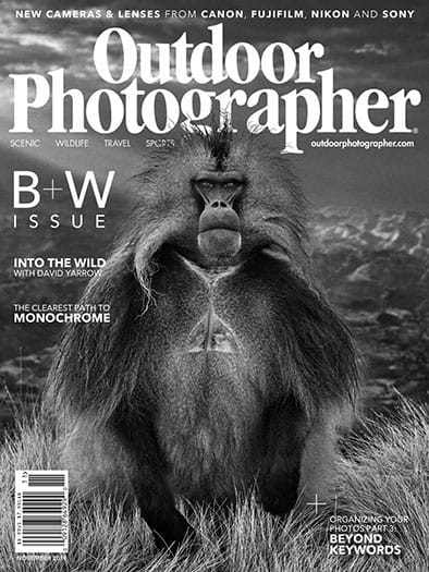 Outdoor Photographer magazine cover in black and white