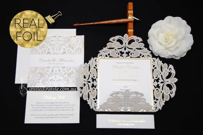 White Shimmer Laser Cut Invite with Real Foil