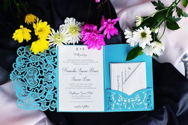 Tiffany Shimmer and Ivory Laser Cut Invite