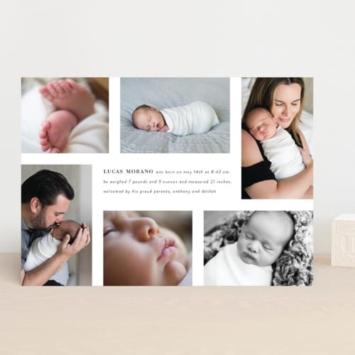 baby photo announcement card