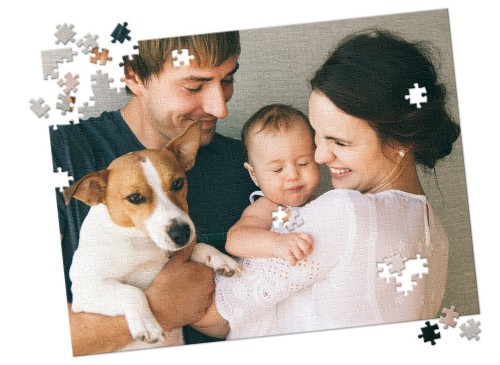 custom puzzle of family with dog