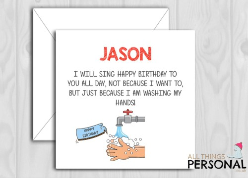 Washing Hands During Isolation birthday card