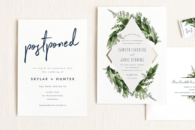 postpone wedding cards