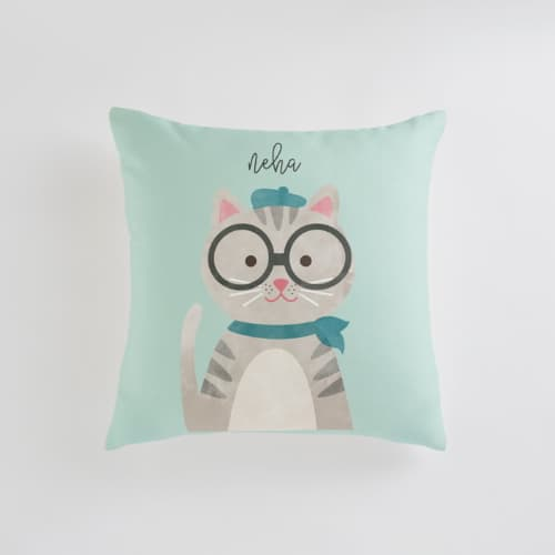 whimsical cat designed throw pillow gift