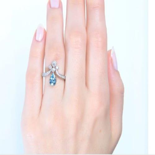 Aquamarine Tiara ring