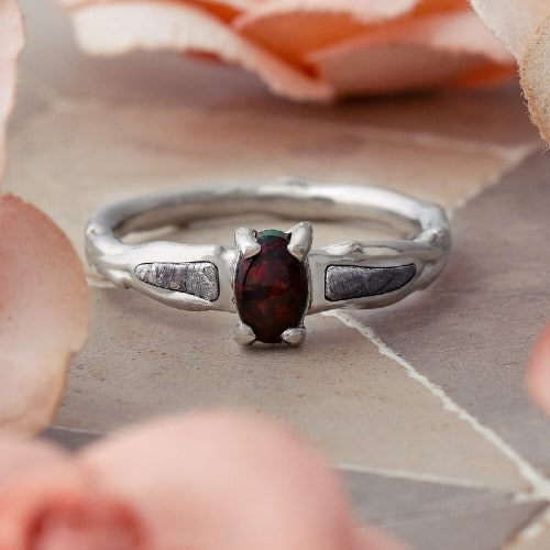 Black Opal Engagement ring with Meteorite Inlay