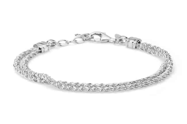 Double Strand Polished Woven Silver Bracelet