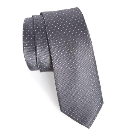 Grey Silk Dot Tie