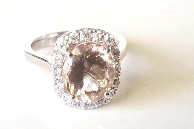 Vintage Oval Morganite & Diamond Halo Ring