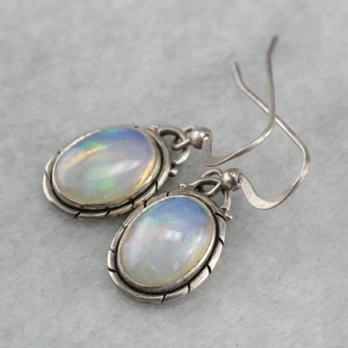 Silver Opal Drop Earrings