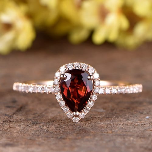 pear cut garnet engagement ring