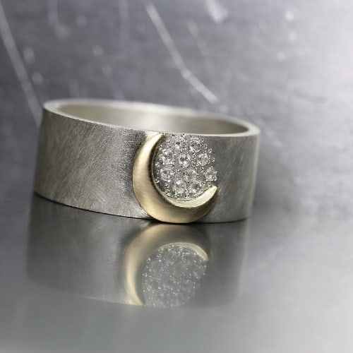 Romantic Moon and Stars Wedding Ring