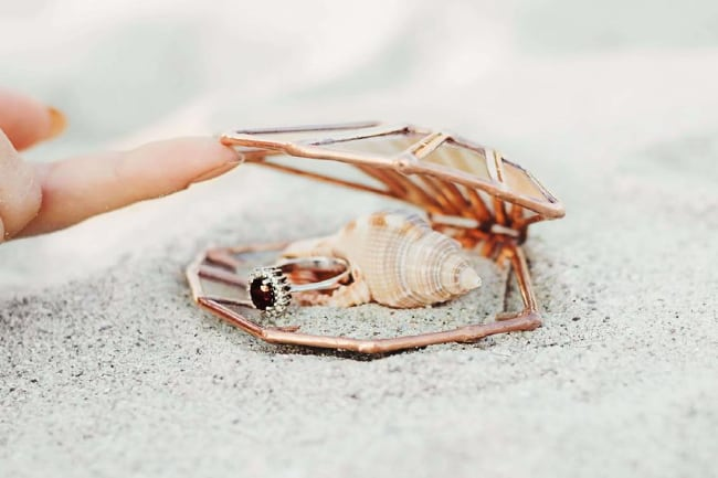 Stained Glass Seashell Ring Box