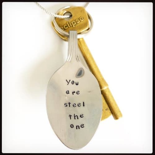 Hand stamped tea spoon keychain