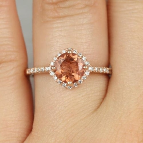 Sunstone diamond engagement ring